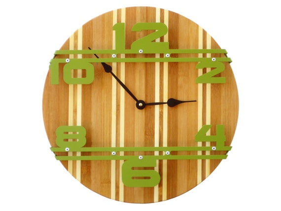 Bamboo Wood Wall Decor : Bamboo stripe i wood wall clock unique modern
