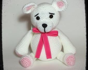 Chubby Bear Amigurumi Crochet Soft Toy Pink on White