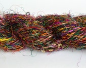 Banana Fiber Multicolored Yarn, Handspun and Fair Trade  - One Skein of 65 Yards, 4 Worsted Weight