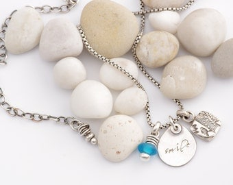 Silver and Sea Glass Fetish Necklace