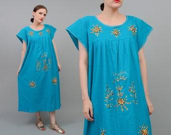 Vintage 70s 80s Teal Ecuador Floral Embroidered Hippie Mexican Cotton Gauze Midi Tent Dress Medium Large M L