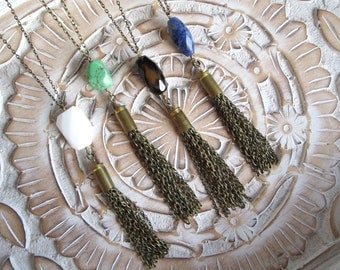 Bullet & Chain Tassel Necklace with Green Faceted Gemstone Bead - Handmade Bullet Jewelry