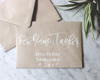 Kraft with White Ink Brush Hand Lettered Calligraphy Envelope Addressing