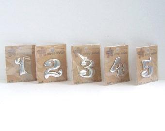 Set of Five Scrap Metal Embellishments Numbers 1,2,3,4 & 5.  Mixed Media, Copper and Aluminum Craft Numbers