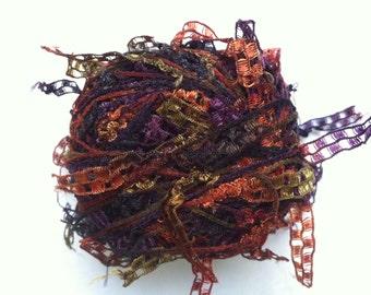 Trendsetter Cubetti #984 Tapestry - Ribbon Yarn Flags Carryalong in Purple, Olive, Copper, Black 25 grams 75 yards