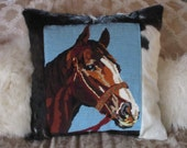 Vintage Needlepoint Horse Pillow, Cowhide