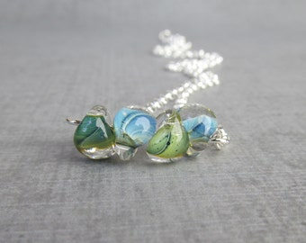 Agave Green Necklace, Agave Blue Necklace, Lampwork Necklace Blue Green, Minimalist Necklace, Layering Necklace, Sterling Silver Necklace