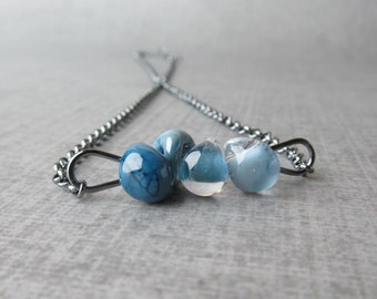 Ombre Blue Necklace, Steel Blue, Lake Blue, Celestial Blue, Baby Blue, Lampwork Necklace Blue, Oxidized Sterling Silver Wire Necklace Glass