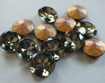 6 Vintage Black Diamond 20mm Chatons Czech Glass Stones