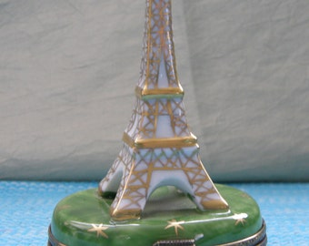 Vintage Limoges Porcelain Hand Painted Eiffel Tower Trinket Box, Limoges Trinket Box