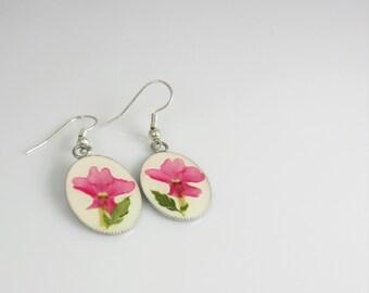 Pink Verbena Earrings, Real Flower Earrings, Dangles,  Pressed Flower Jewelry (1685)