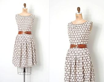 vintage 1950s dress / cut out 50s eyelet cotton dress / Karen Kane