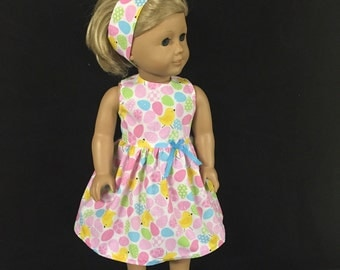 Doll Clothes for American Girl and Some Other 18 Inch Dolls Easter Eggs Pastel Eggs Spring Easter Chick Dress
