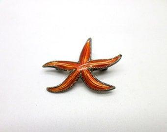 Pin Brooch Vintage Sterling Silver Vermeil David Andersen Orange Enamel Starfish