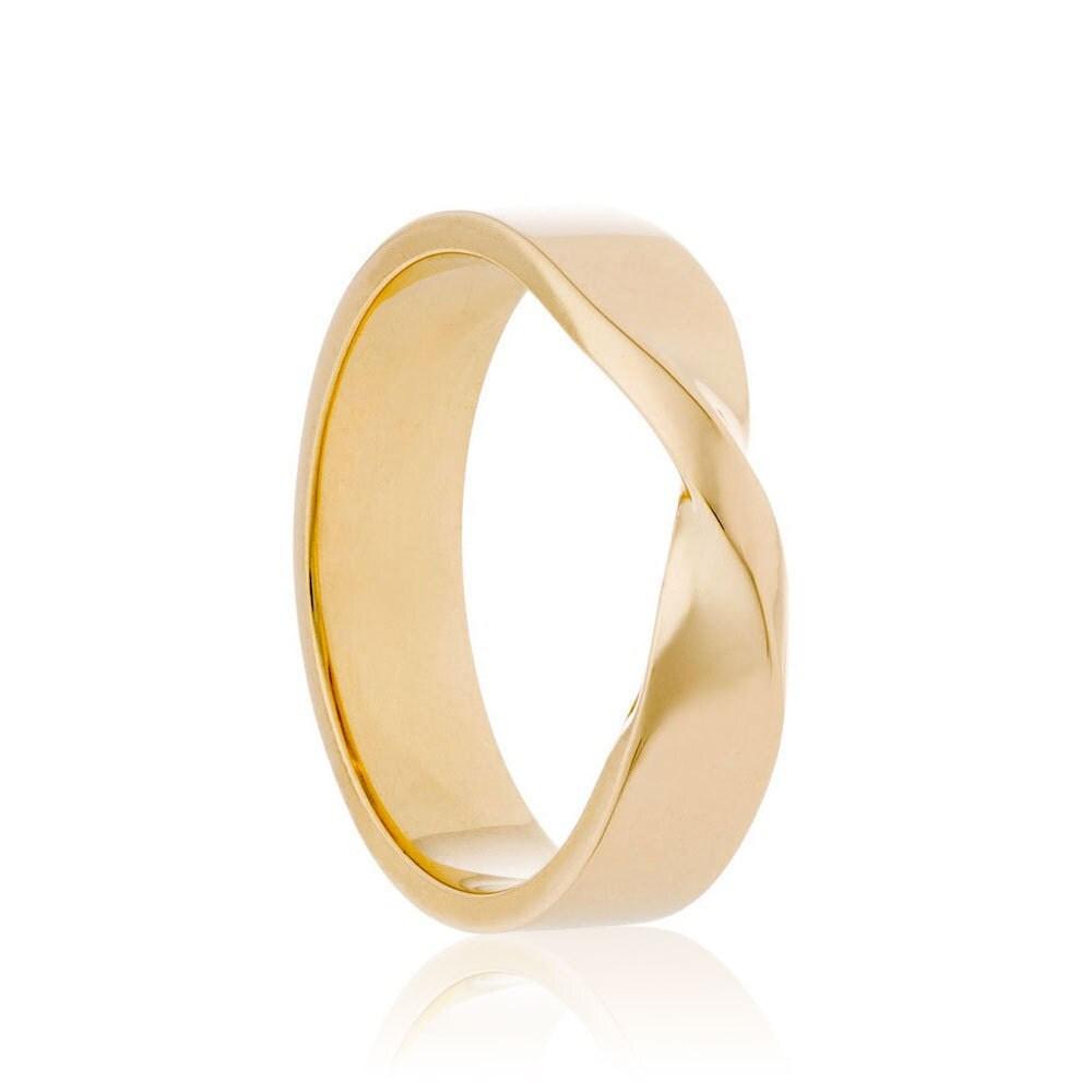 mens wedding band 14k gold mobius ring twisted wedding ring