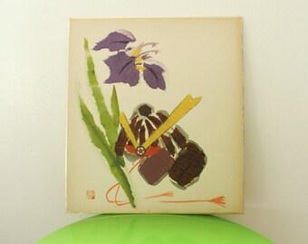 Japanese Flower Picture Washi Applique Style Shikishi