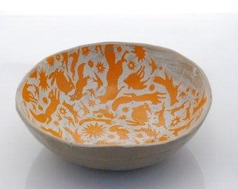 Ceramic Serving bowl - illustrated bowl - handmade fruit bowl - pottery bowl - decorative ceramic bowl - unique bowl - housewarming gift