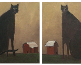 Cat Art Black Cats. Barn Cats. Charcoal and Slate. Custom Matted Double Print on Canvas Made from Pati Bannister Original Art.