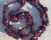 ON SALE GORGEOUS Garnet ll  Deep red Garnet stone necklace, long garnet necklace, garnet jewelry, garnet