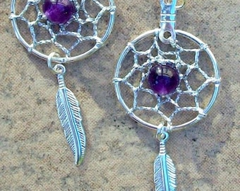 ON SALE Dream catcher earrings in silver with amethyst, dreamcatcher earrings, silver amethyst, amethyst earrings, silver dreamcatcher earri
