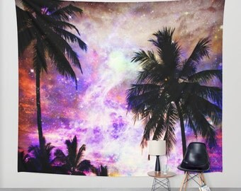 Palm Trees wall tapestry/California wall tapestry/Space wall tapestry/Purple wall tapestry/Pink wall tapestry/Nature wall tapestry/L.A decor