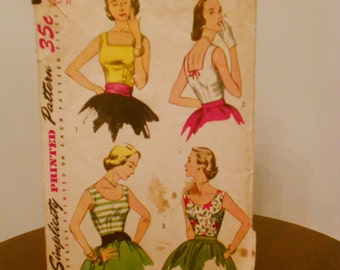 Womens  Vintage 1950s Simplicity Pattern Size 16  Bust 34  style 4350