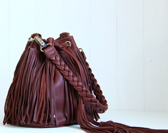 Brown leather fringe bag / Leather fringe purse / Brown leather shoulder bag / Leather crossbody bag