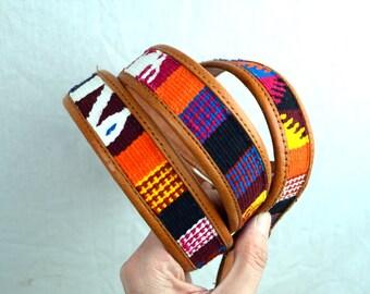 Vintage Leather Guatemalan Rainbow Tooled Woven Fabric Belt - XL - Size 44