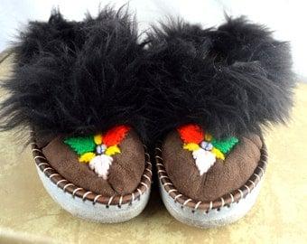 Vintage Fur, Suede, Leather Ethnic Elf Slipper Shoes Moccasins