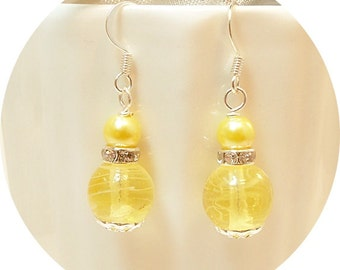 Yellow Earrings, Bridesmaid Earrings, Wedding Jewelry, Bridesmaid Gift, Yellow Dangle Earring, Bridal Earrings, Honey Yellow, Yellow Wedding