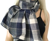 Navy/gray tartan plaid flannel scarf, cotton flannel plaid Neck Rag with navy trimming-unisex Long flannel plaid scarf-Fall  Winter Fashion-
