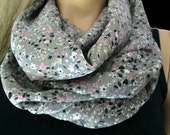 Chiffon infinity scarf-Gray chiffon with tiny floral print/ chiffon cowl Instant gratification-Extra full