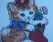 Cross Stitched MERRY CHRISTMAS KITTIE #1 Ornament