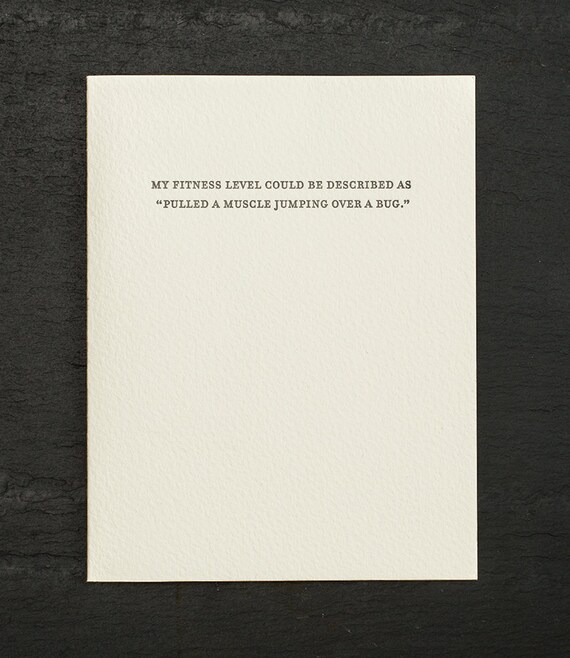 fitness level. letterpress card. #808
