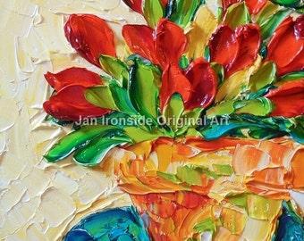 Original Oil Painting  Bright Red Tulips Impasto Palette Knife Art