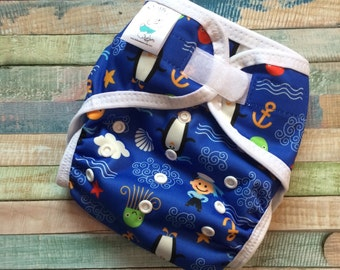 Penguins And Sailor Polyester PUL Cloth Diaper Cover With Aplix Hook & Loop Or Snaps Pick Size XS/Newborn, Small, Medium, Large, or One Size