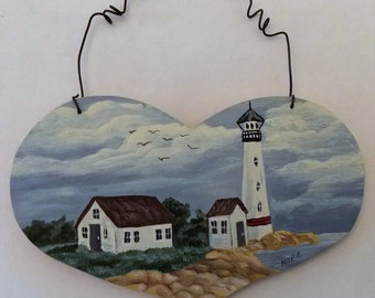 Original Light House Scene, Hand Painted, Acrylic Paint, On Wood Heart, Little Painting, Light House Painting, Small Art, Christmas Ornament