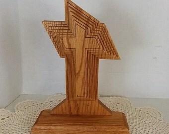 Oak Wooden Cross, Three Dimensional, Religious Decor, Beautiful Piece, Decorative Cross, Prayer Cross, Scroll Saw Cross, Religious Gift