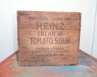 Rustic Box Crate Heinz 57 Storage Organizer Worn Wood
