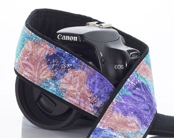 dSLR Camera Strap, Peach, Aqua, Lilac, Violet, Floral, Replacement camera strap for Canon Nikon Pentax Minolta etc. 43