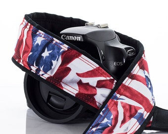 US Flag dSLR Camera Strap, Nikon, Canon, SLR, Mirrorless camera, Mens, Womens, Red White and Blue, 249
