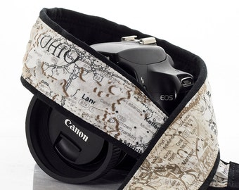 US Map dSLR Camera Strap,  Canon camera strap, Nikon camera strap, Men, Women, SLR, Mirrorless, Photographer gift, 254
