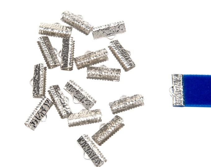 50pcs.  16mm  (5/8 inch)  Platinum Silver Ribbon Clamp End Crimps - Artisan Series