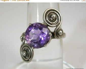 30% Off Sale Taxco Sterling Ring with Purple Amethyst Stone