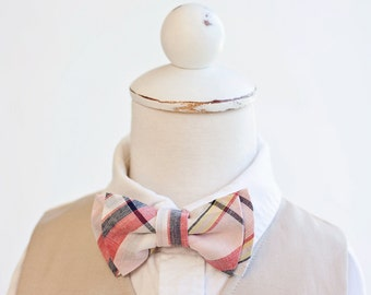 Bow Tie, Coral, Blush, Navy Organic Madras Plaid, Bow Ties, Boys Bow Ties, Baby Bow Ties, Bowtie, Bowties, Ring Bearer, Bow ties For Boys