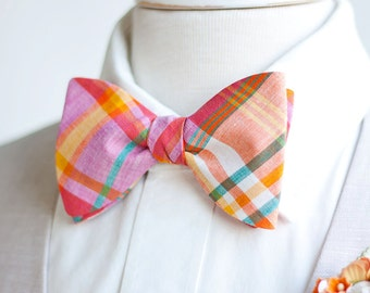 Bow Ties, Bow Tie, Bowties, Mens Bow Ties, Freestyle Bow Ties, Self-Tie Bow Ties, Groomsmen Ties - Navy, Orange, Teal Organic Madras Plaid