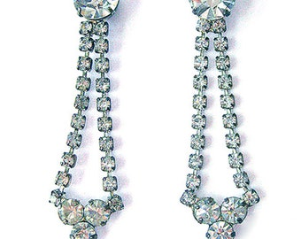 Vintage Rhinestone Dangle Earrings Wedding Jewelry Formal Earrings Post Back