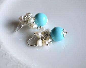 Turquoise pearl and sterling silver short dangle earrings, pearl earrings, freshwater pearl jewelry, wedding earrings