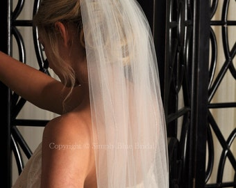 Wedding Veil with Beaded Edge - Ivory, Light Ivory, White, Diamond White, Champagne, Blush