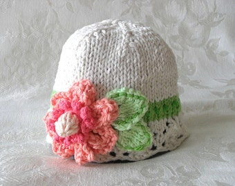 Knitted Baby Hat Knitting Knit Baby Hat  Cotton Knitted Cloche Knitted Lace Hat with Flower Children Clothing Newborn knitted baby hat